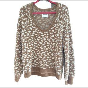 Abercrombie & Fitch fuzzy leopard sweater NWOT